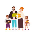 happy family shopping cheerful mother father vector image