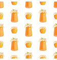 honey jar seamless pattern with bee sketch vector image vector image
