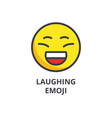 laughing emoji line icon sign vector image vector image