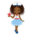 little african american girl with starfish vector image vector image
