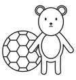 little bear teddy with balloon soccer vector image