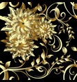 luxury 3d gold flowers seamless pattern vector image