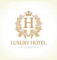 luxury h hotel logo vector image
