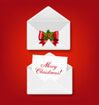 merry christmas envelope set isolated red vector image vector image