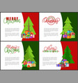 merry christmas greeting cards xmas tree and gifts vector image vector image