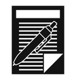 pen paper document icon simple style vector image vector image
