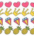 Pink heart crown diamond pineapple Quirky cartoon vector image vector image