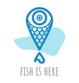 poster with lake symbol fish location mark vector image vector image