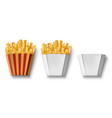 potatoes french fries in paper box isolated vector image vector image