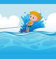 scene with boy doing water ski vector image