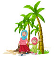 scene with mother and daughter on beach vector image
