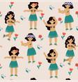 seamless pattern with cute hawaiian girls vector image