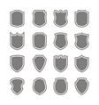 set of monochrome icons with shield vector image