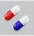 set of red and blue realistic pills vector image vector image
