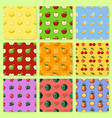 set of seamless patterns with pixel fruits and vector image vector image