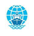 Ship and Globe Logo Sign vector image vector image
