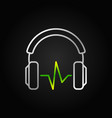 silver headphones with green sound wave vector image