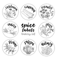 Spices and herbs labels Contour bakery set vector image