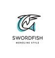 sword fish logo vector image vector image