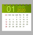 template calendar for january 2020 week starts vector image vector image