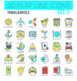 travel hotels icons vector image vector image