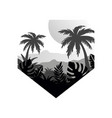 tropical scenery with palms mountains and sun vector image