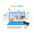 woman call mobile phone online store internet shop vector image vector image