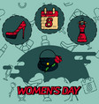 women day flat concept icons vector image vector image
