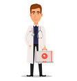 young professional doctor holding first aid kit vector image