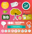 BIO - 100 Natural Labels Set on Blurred Background vector image
