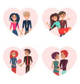 couples in love in frames vector image
