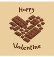 Valentine Heart Milk Chocolate Bar vector image