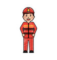 standing happy firefighter worker with uniform and vector image