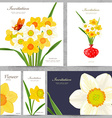 collection greeting cards with spring flowers for vector image