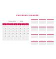 2019 calendar planner template design vector image