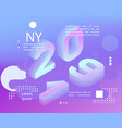 2019 neon holographic memphis style banner with vector image vector image