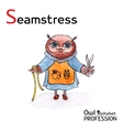Alphabet professions Owl Letter S - Seamstress vector image vector image