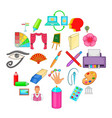 art workshop icons set cartoon style