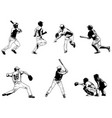 baseball players set - sketch vector image vector image