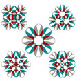 beautiful colorful flower ornament set vector image