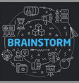 black line flat circle brainstorm vector image