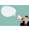 Businessman holding a megaphone with bubble word vector image vector image