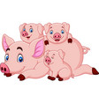 cartoon happy pig mother with piglets vector image vector image