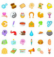 charity work icons set cartoon style vector image vector image