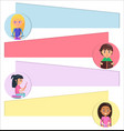 children portraits in circles with place for text vector image vector image