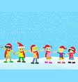 christmas kids on snowing background vector image vector image