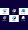 creative planet orbit abstract logo design vector image