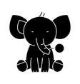 elephant cute icon black vector image vector image