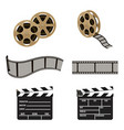 film reel and clapper board symbols of filmmaking vector image