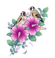 hand drawn goldfinches sitting on hibiscus branch vector image
